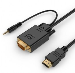 Konwerter HDMI do VGA mini Jack 3m czarny